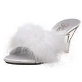Biały 8 cm BELLE-301F pióra marabuta Klapki