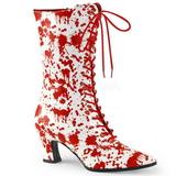 Biały Czerwone 7 cm VICTORIAN-120BL Botki Sznurowane Damskie