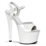 Biały Lak 18 cm Pleaser SKY-309 Platformie high heels obuwie