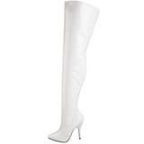 Biały Lakierki 13 cm SEDUCE-3010 Kozaki za kolano na obcasie