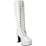 Biały Lakierowane 10,5 cm EXOTICA-2020 Sznurowane Kozaki Damskie