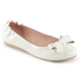 Biały OLIVE-03 baleriny płaskie buty z muszka