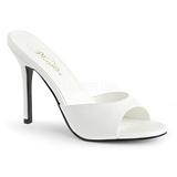 Biały Skóra Ekologiczna 10 cm CLASSIQUE-01 duże rozmiary klapki buty