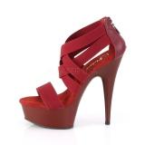 Bordowywy elastyczna opaska 15 cm DELIGHT-669 obuwie pleaser dla damskie