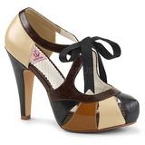 Brązowa 11,5 cm retro vintage BETTIE-19 buty damskie na wysokim obcasie