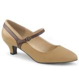 Brązowa Skóra Ekologiczna 5 cm FAB-425 duże rozmiary szpilki buty