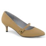 Brązowa Skóra Ekologiczna 6,5 cm KITTEN-03 duże rozmiary szpilki buty