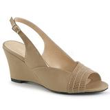 Brązowa Skóra Ekologiczna 7,5 cm KIMBERLY-01SP duże rozmiary sandały damskie