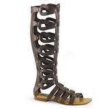 Brązowy ATHENA-200 sandały gladiatorki do kolan damskie