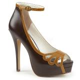 Brązowy Skóra Ekologiczna 13,5 cm BELLA-31 buty czółenka peep toe na obcasie