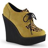 Brązowy Skóra Ekologiczna CREEPER-304 platformy creepersy buty kliny