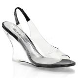 Czarne 10,5 cm LOVELY-450 Sandały na koturnie i obcasie