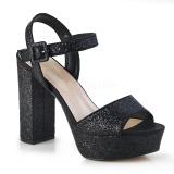 Czarne 11,5 cm CELESTE-09 błyszczące sandały z grubym obcasem