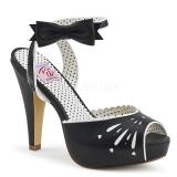 Czarne 11,5 cm Pinup retro vintage BETTIE-01 sandały na obcasie