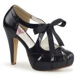 Czarne 11,5 cm retro vintage BETTIE-19 buty damskie na wysokim obcasie