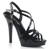 Czarne 13 cm Fabulicious LIP-113 sandały na obcasie