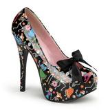 Czarne 14,5 cm Burlesque TEEZE-12-4 buty damskie na wysokim obcasie
