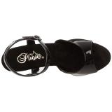 Czarne 14 cm ALLURE-609 Platformie buty na szpilkach