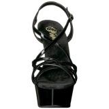 Czarne 15 cm Pleaser DELIGHT-613 Sandały na wysokim obcasie