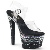 Czarne 18 cm SKY-308CROSS platformy buty na wysokiej z kryształkami