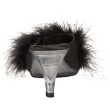 Czarne 8 cm BELLE-301F pióra marabuta Klapki