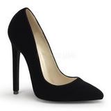 Czarne Aksamit 13 cm SEXY-20 Buty na wysokim obcasie szpilki