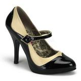 Czarne Beżowe 11,5 cm TEMPT-07 buty damskie na wysokim obcasie