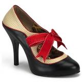 Czarne Beżowe 11,5 cm rockabilly TEMPT-27 buty damskie na wysokim obcasie