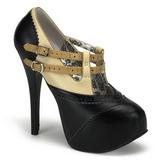Czarne Beżowe 14,5 cm TEEZE-24 buty damskie na wysokim obcasie