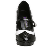Czarne Biały 10,5 cm CONTESSA-06 buty damskie na wysokim obcasie