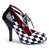 Czarne Biały 10,5 cm HARLEQUIN-03 buty damskie na wysokim obcasie