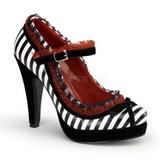 Czarne Biały 11,5 cm BETTIE-18 buty damskie na wysokim obcasie