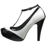 Czarne Biały 11,5 cm retro vintage BETTIE-22 buty damskie na wysokim obcasie