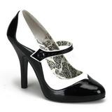 Czarne Biały 11,5 cm rockabilly TEMPT-07 buty damskie na wysokim obcasie