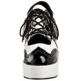Czarne Biały 11 cm GANGSTER-15 buty damskie na wysokim obcasie