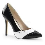 Czarne Biały 13 cm AMUSE-26 buty damskie na wysokim obcasie