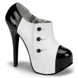 Czarne Biały 14,5 cm Burlesque TEEZE-20 buty damskie na wysokim obcasie
