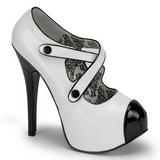 Czarne Biały 14,5 cm TEEZE-23 buty damskie na wysokim obcasie
