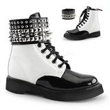 Czarne Biały 3,0 cm RIVAL-106 Punk Botki Damskie