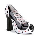 Czarne Biały 13 cm POKER-21 buty damskie na wysokim obcasie