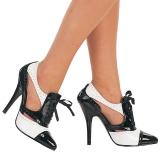 Czarne Biały 13 cm SEDUCE-458 Oxford buty damskie na wysokim obcasie