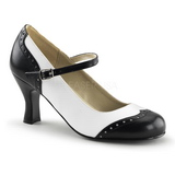 Czarne Biały 7,5 cm FLAPPER-25 Buty na wysokim obcasie szpilki