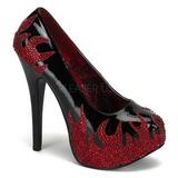 Czarne Błyszczącymi Kamieniami 14,5 cm Burlesque TEEZE-27 buty damskie na obcasie