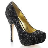 Czarne Błyszczące Kamieńie 13,5 cm FELICITY-20 buty damskie na obcasie
