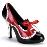 Czarne Czerwone 10,5 cm QUEEN-03 buty damskie na wysokim obcasie