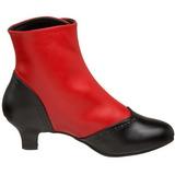 Czarne Czerwone Botki Damskie 5 cm FLORA-1023