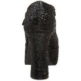 Czarne Glitter 11 cm MARYJANE-50G Platformie Szpilki Mary Jane