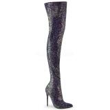 Czarne Glitter 13 cm COURTLY-3015 pleaser kozaki za kolano