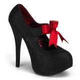 Czarne Glitter 14,5 cm Burlesque TEEZE-04G buty damskie na wysokim obcasie