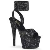 Czarne Glitter 18 cm ADORE-791LG wysokie obcasy z paskiem na kostkę